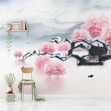 New Chinese-style hand-painted architecture peach landscape television sofa wall professional production wallpaper mur
