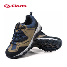 Clorts First Layer Genuine Leather Trekking Shoes Waterproof Anti-slippery Hiking Shoes EVA Outdoor Sneakers for Men HKL-826