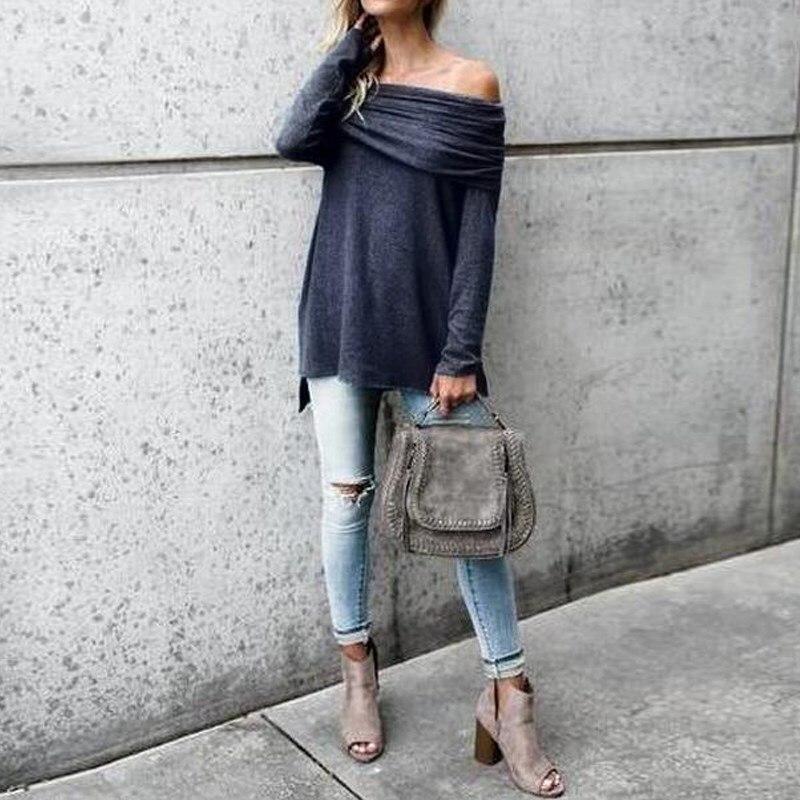 2018 Autumn Fashion Women Slash Neck Long Sleeve Casual Irregular Hem Loose Solid Sexy Off Shoulder Party Blouse Top Shirt