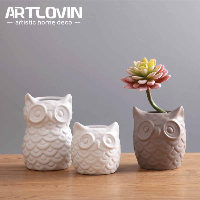 Creative Ceramic White Owl Figurines Nordic Style Artificial Plant Flower Pot Porcelain Animal Statuette Home Decor Gifts Crafts