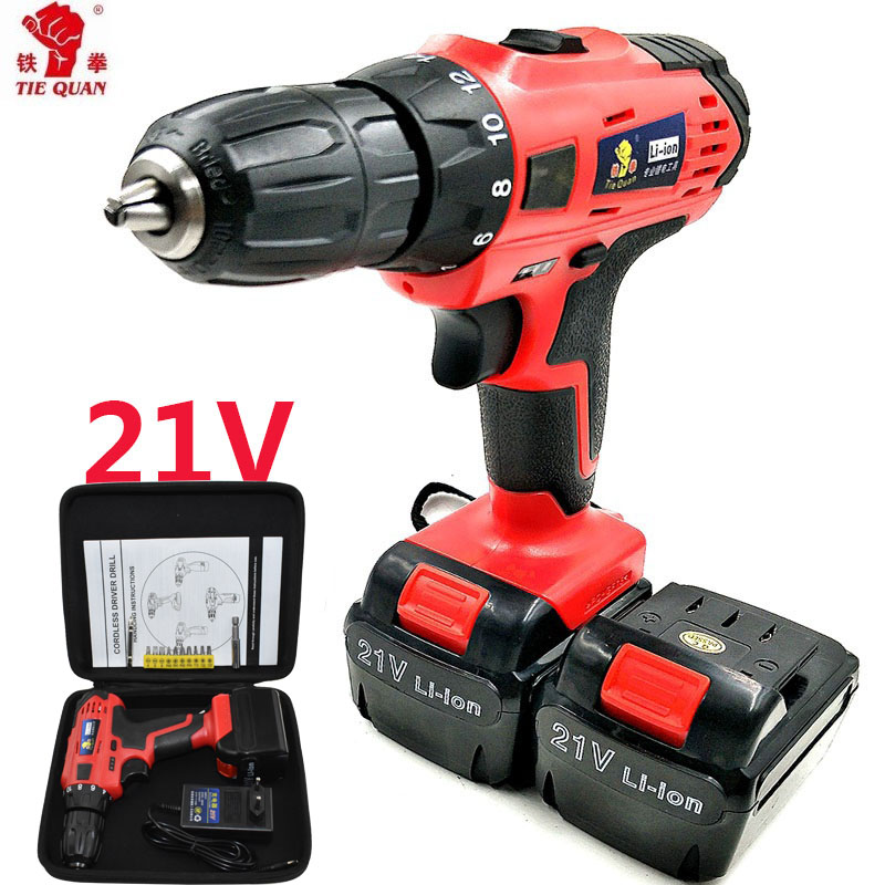 21V Power Tools Electric Battery Drill Electric Cordless Drill Screwdriver  Mini Drill Electric Drilling Eu Plug With Hand Bag
