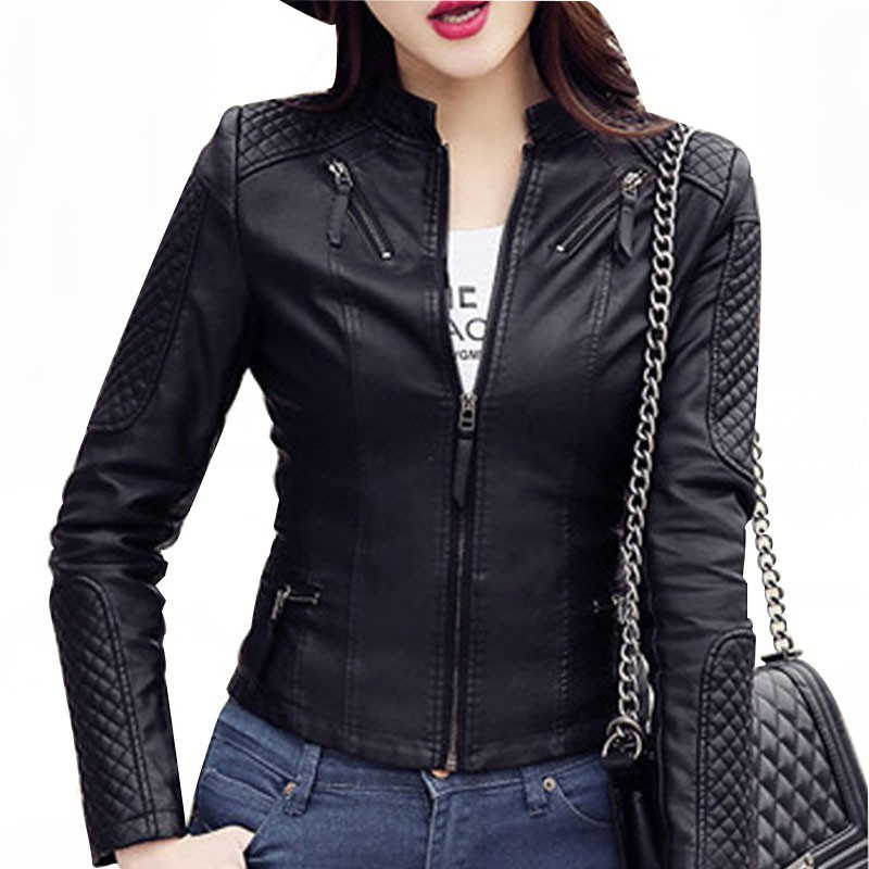2019 Women Spring Autumn Pu   Leather   Jacket Casual Slim Soft Moto Jacket Biker Faux   Leather   Jacket Female Coat Basic Streetwear