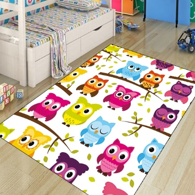 Else Yellow Blue Pink Orange Owls On Tree Kids Modern 3d Print Non Slip Microfiber Children Kids Room Decorative Area Rug Mat