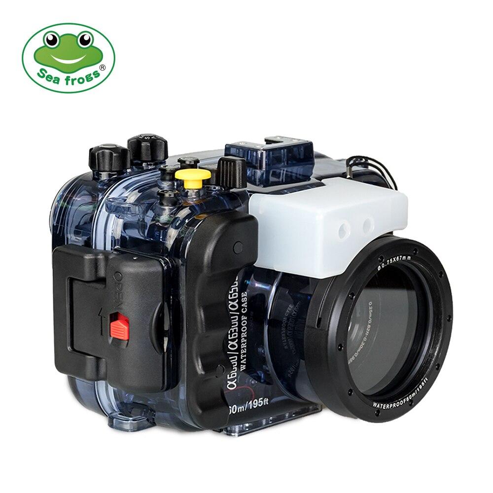 Boîtier de caméra de plongée sous-marine imperméable de gens de mer 195FT/60 M pour Sony A6500 A6300 A6000 avec le double Port optique de Fiber et le joint torique