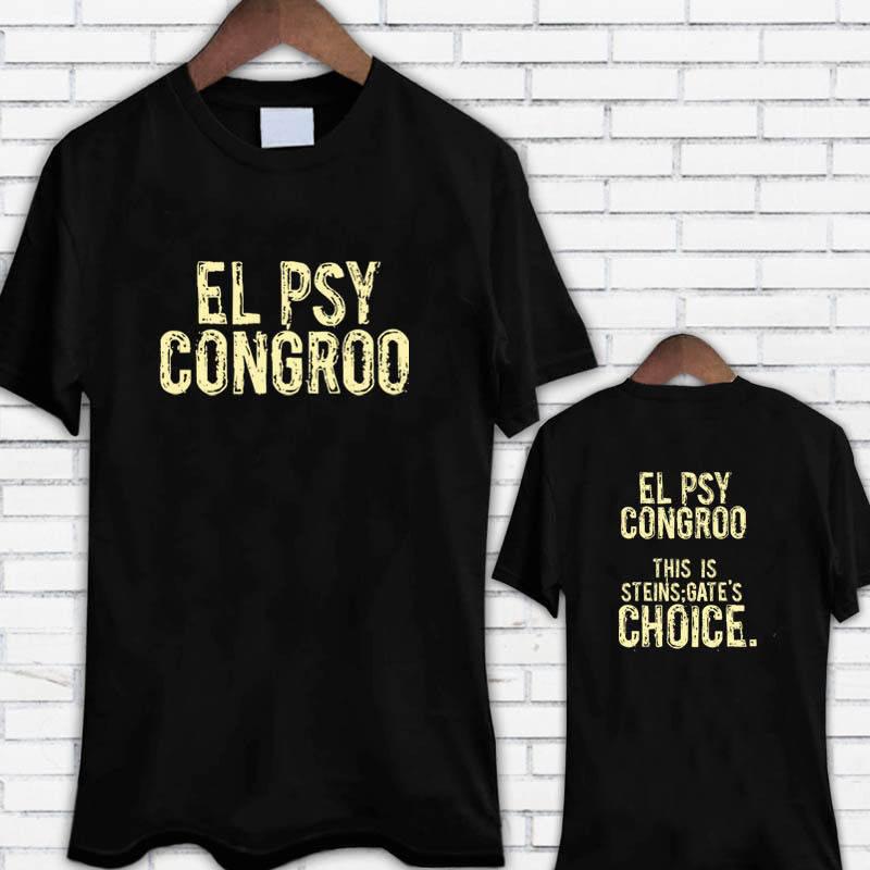 T-shirts High Quality Casual Printing Tee El Psy Congroo Steins Gates Choice Anime Cartoon Mens Black T-shirt Size S-3xl Summer T-shirt