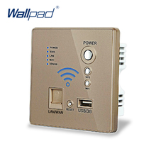 Free Shipping,Gold Color USB Charging Wall Socket  Panel,Wall Embedded Wireless AP Router USB Socket 3G WiFi Socket 110-250V