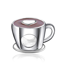 Everbling Cup with Heart Red Enamel 100% 925 Sterling Silver Charm Bead Fits Pandora European Pandora Charms Bracelet
