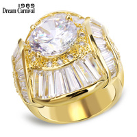 DreamCarnival 1989 Big Baguette Stones Huge Party Ring for Women Gold Color Unique Style Bijuox Anillos Hot Bridal Rings YR7022