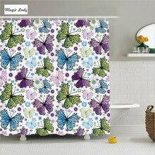 Shower Curtain Butterfly Bathroom Accessories Spring Summer Daisies Heart  Pattern Green Purple Pink 180*200