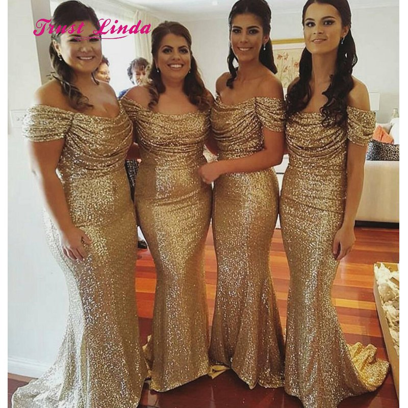 Women Boat Neck Gold Bridesmaid Dresses