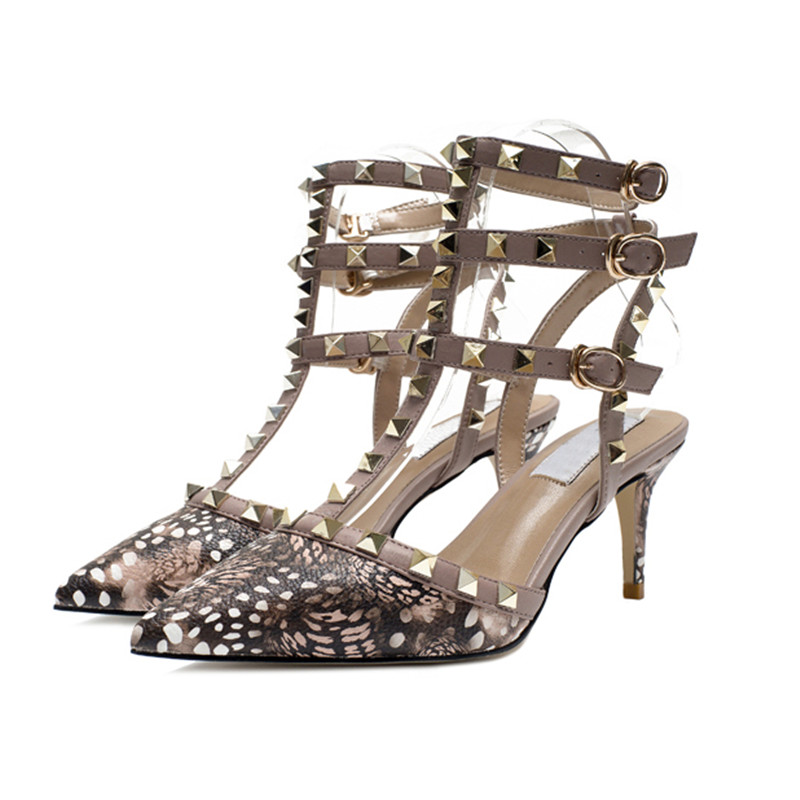 Sexy Leopard Pumps Women Rivet Gladiator Sandals Woman Three Belts Ankle Strappy Buckle  ...
