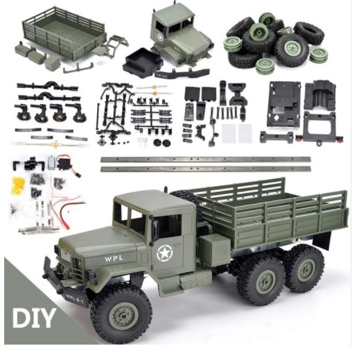 WPL B16 B-16 6WD Off-Road RC Caminhão Militar WPL Upgrade KIT DIY 1:16 RC Carro Buggy RC WPL monster Truck Roda Montar 6 Crawler