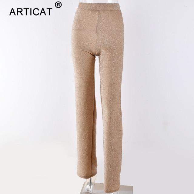 Articat Autumn High Waist Wide Leg Pants Women Winter Solid High Elastich Flare Pants Skinny Casual Sexy Party Trousers Women