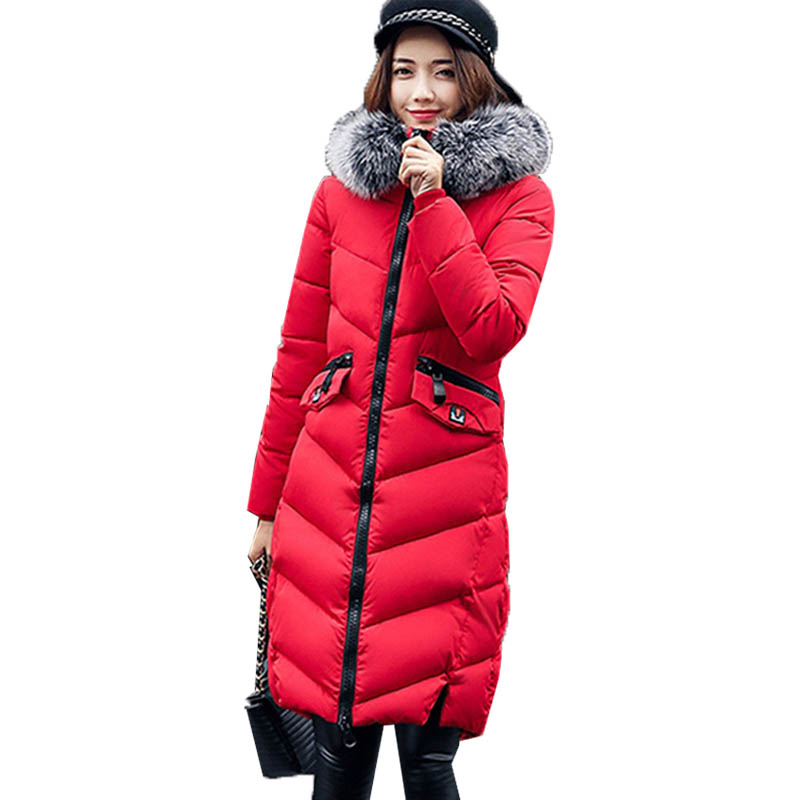 Winter Warm Women Hoodies Long Sleeve Zipper Pockets Down Cotton Jacket Parkas Faux Fur Hooded Outerwear Casual Long Coat 2017 2017 new winter jacket women casual loose long sleeve down parkas pockets hooded warm cotton coats windproof overcoat ao367