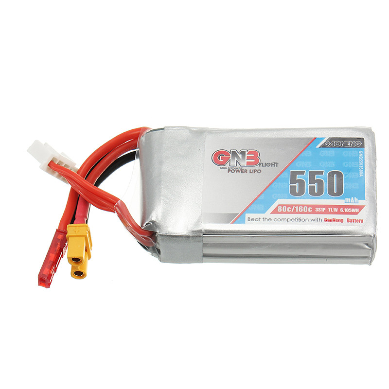 In Stock Gaoneng GNB 11 1V 550mAh 80 160C 3S Rechargeable Lipo Battery With JST XT30