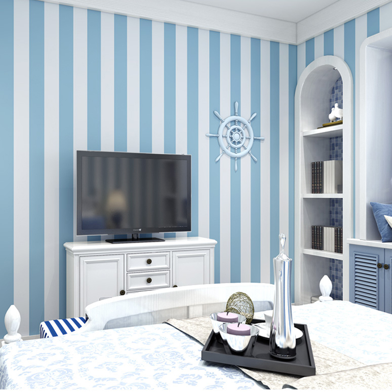 Pink Blue Wide Striped Wallpaper For Kids Room Wall Decal Self Adhesive Bedroom Living Room Stripes Wall Papers Home Decor QZ122