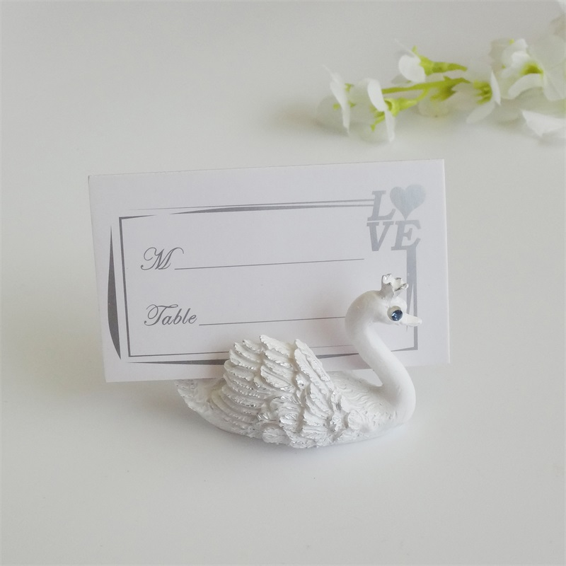 2016 Resin Swan Place Card Holders Wedding Restaurants Cafes Table Photo Memo Number Name Clip For Wedding Event Party