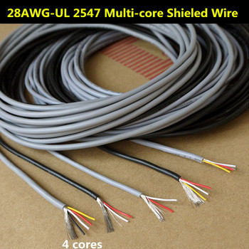 28AWG 4 Cores Multicores Shielded Wires Tinned Copper Controlled Cable Headphone Cable UL2547 Black & Gray color Audio Lines image