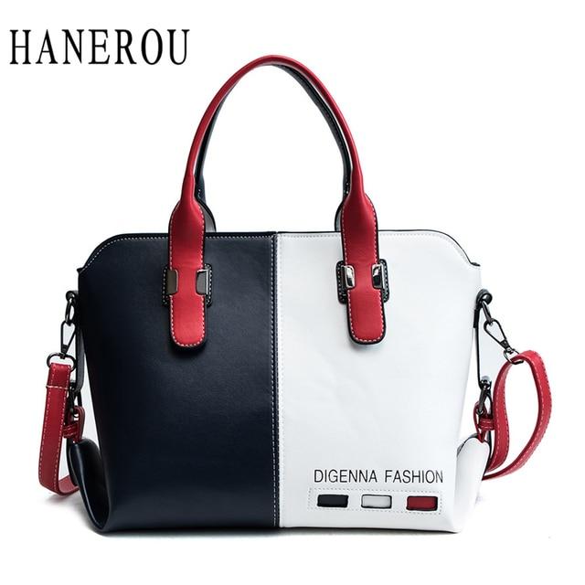 4b944a575ab3 HANEROU Women Handbag Fashion Women Bag PU Leather Tote Bag Ladies Designer  Patchwork Handbags Female Casual