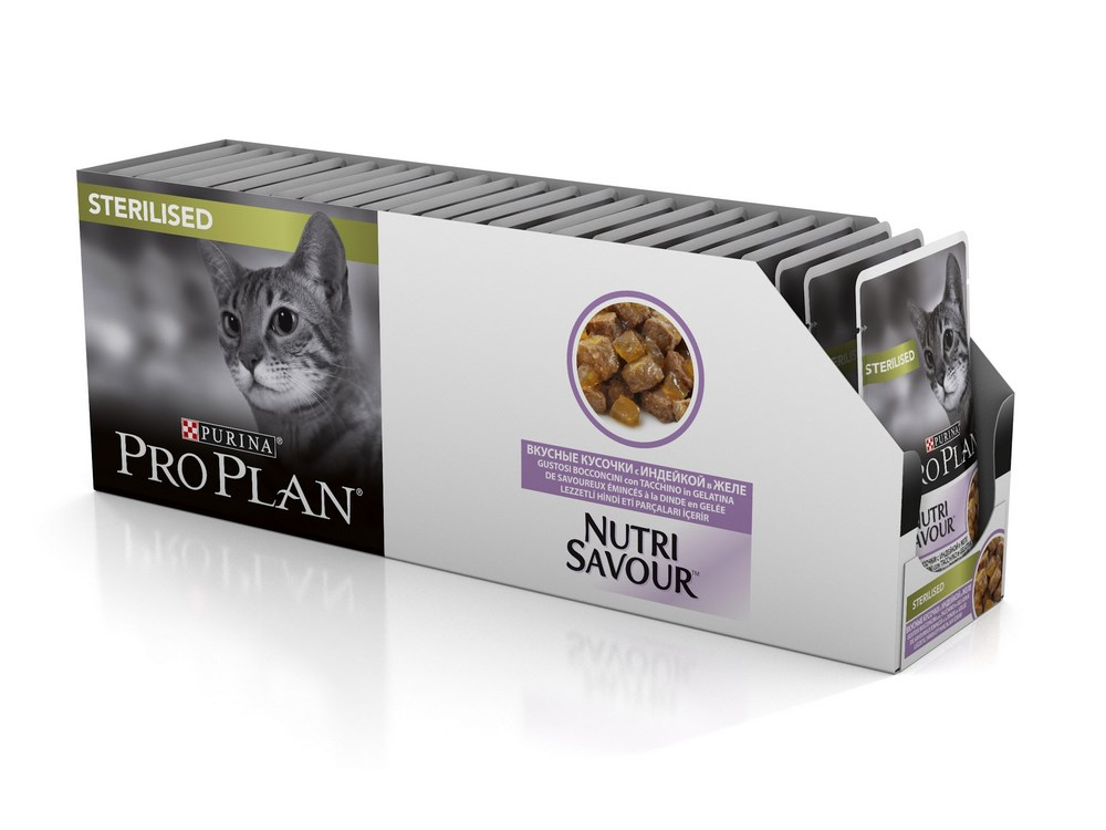 Cat wet food Pro Plan Nutrisavour Sterilized pouches for sterilized cats and cats, Turkey (pieces in jelly, 24*85 g) wet pro plan feed for adult cats with lamb in jelly 85 g x 24 pcs