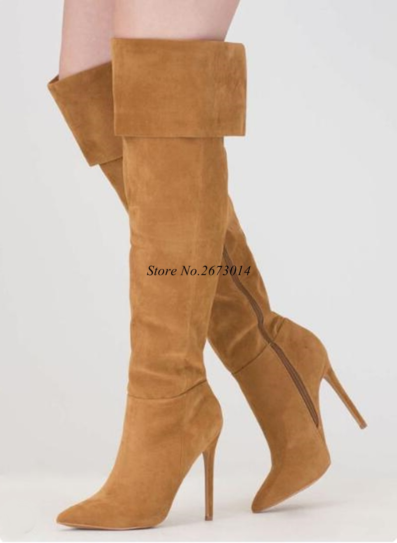 Brown Suede Leather Over The Knee Thigh High Boots Pointed Toe Fold Winter Long Fashion Shoes Size 35-42