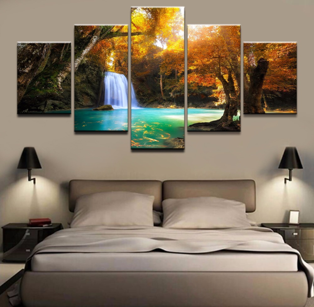 One Set Canvas HD Print Beautiful Autumn Landscape Waterfall Painting Poster 5 Pieces Wall Art Decor Home Modular Picture