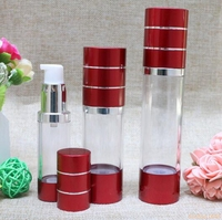 15ml 30ml 50ml Wine red Refillable Bottles with silver line Portable Airless Pump Dispenser Bottle For Travel Lotion#121