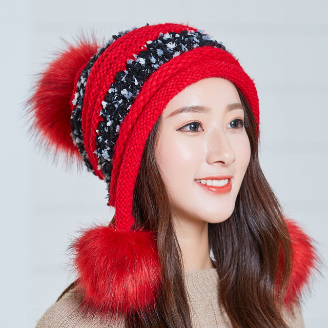 0dfceac0804 winter warm wool ball fashion girls head wear caps mix color knitted women  hats thick lady