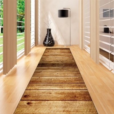 Else Brown Vintage Wood Floral Trees 3d Print Non Slip Microfiber Washable Long Runner Mat Floor Mat Rugs Hallway Carpets