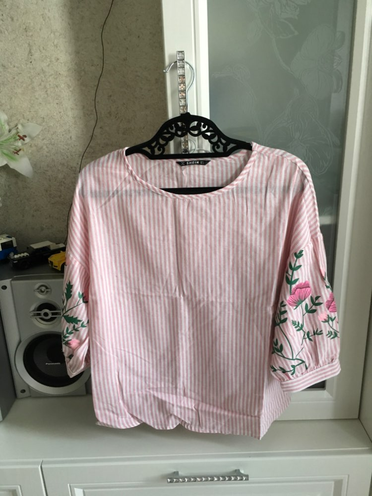 Pink Summer Tops For Women Clothes Flower Print Lantern Sleeve Striped Blouse Beach Ladies Shirts Fashion Blouses photo review