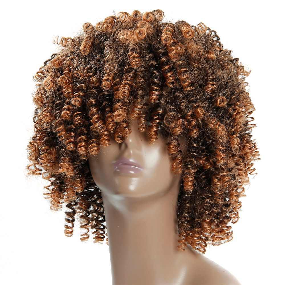 Afro Perücke Kurz Verworrenes Lockiges Für Frauen braun farbe 12 zoll Synthetische kurze perücke für schwarze frauen