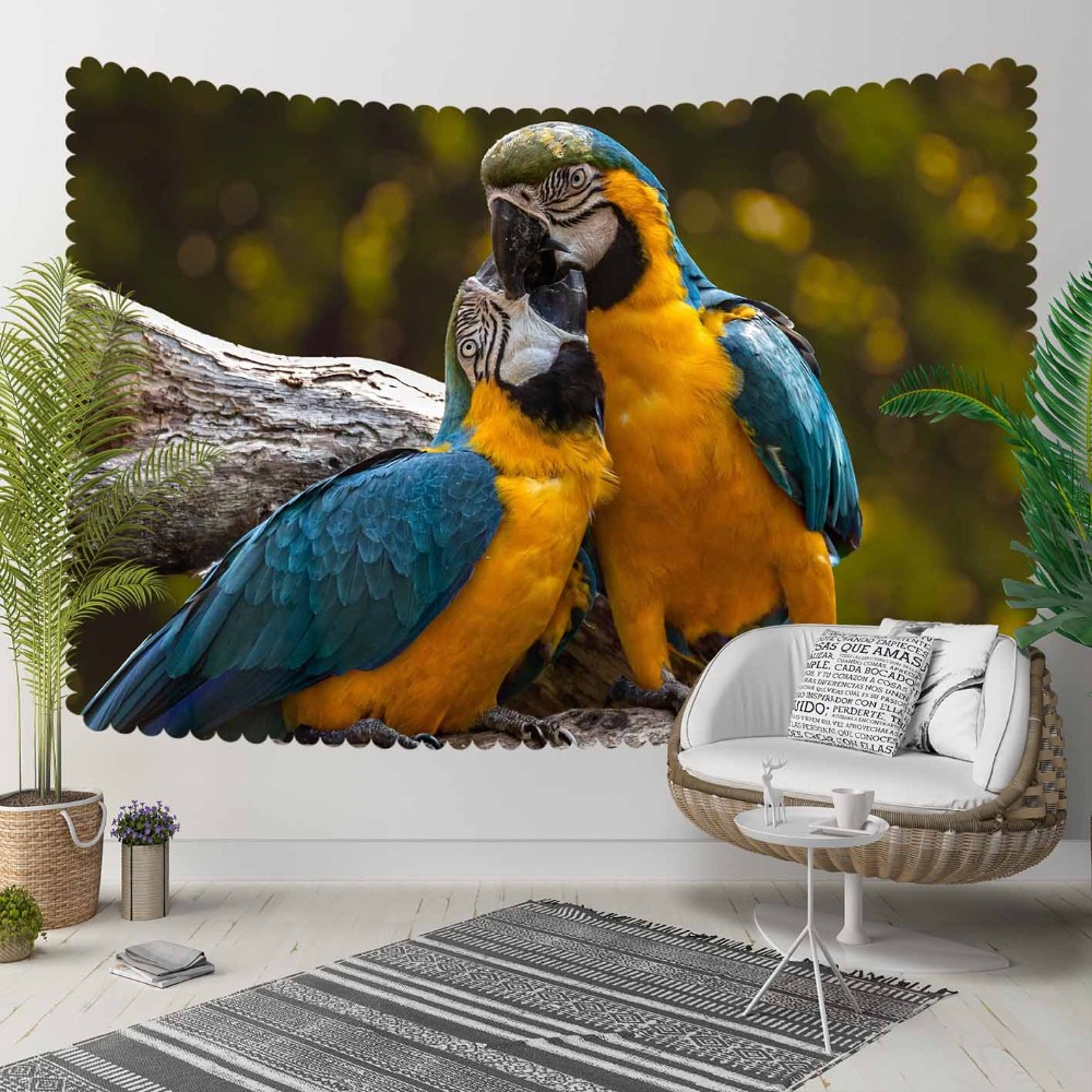 Else Green Jungle Tropical Yellow Blue Parrot Animal 3D Print Decorative Hippi Bohemian Wall Hanging Landscape Tapestry Wall Art