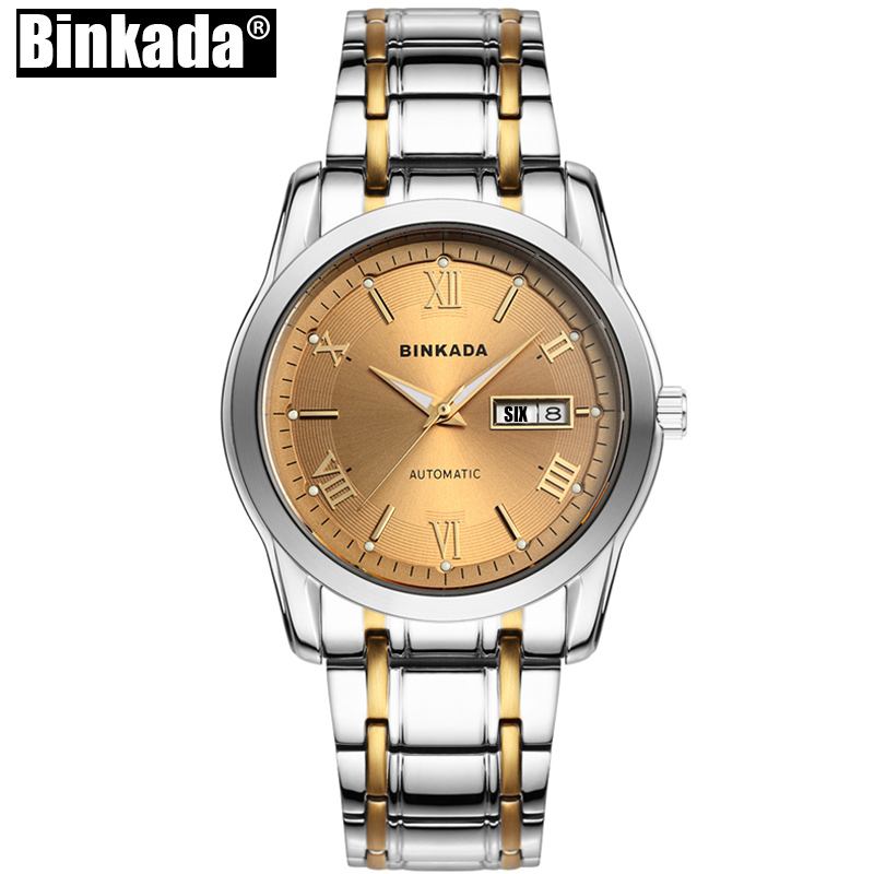 Top Brand Luxury Wristwatches Business Automatic Mechanical New Fashion Men BINKADA Simple Casual Watch Clock 2017 new fashion men binkada top brand gold luxury wristwatches self wind automatic mechanical calendar leather watch clock