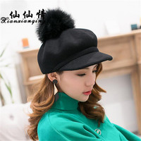 XIANXIANQING Winter Women Super Hair Ball Newsboy Cap Solid Visor Caps Korean Fashion Keep Warm Berets