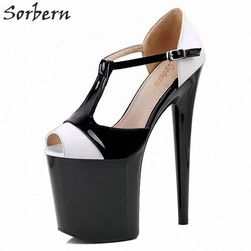 Sorbern Weiß Und Schwarz T Strap Heels Peep Toe Retro Schuhe Frauen Komfortable High Heels Womans Diy Farben 2018 Frauen pumpen