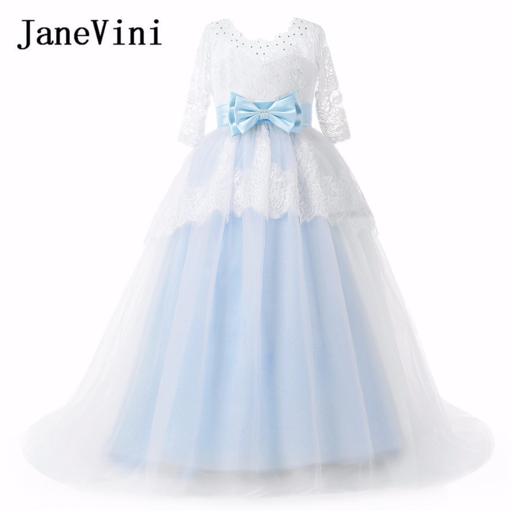 JaneVini White Blue Beaded Kids   Flower     Girls     Dresses   2018 Long Evening Party Princess Ball Gown Lace Appliques Communion   Dress