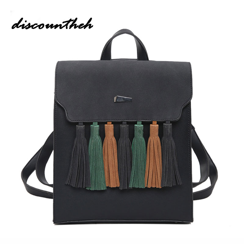 Fashion Tassel Hit Color Square Girls Backpack Scrub PU Leather Women Backpack Fashion School Bags
