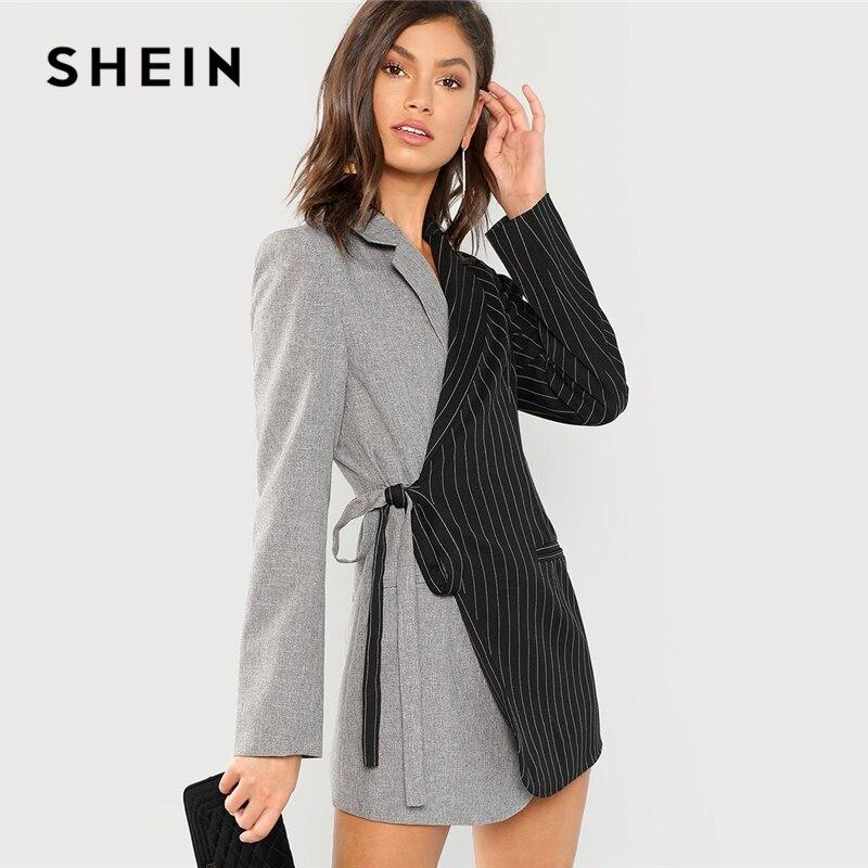 Шеин Colorblock галстук талии Surplice обёрточная бумага Блейзер элегантный спецодежды узел зубчатый удлиненный верхняя одежда для женщин осен