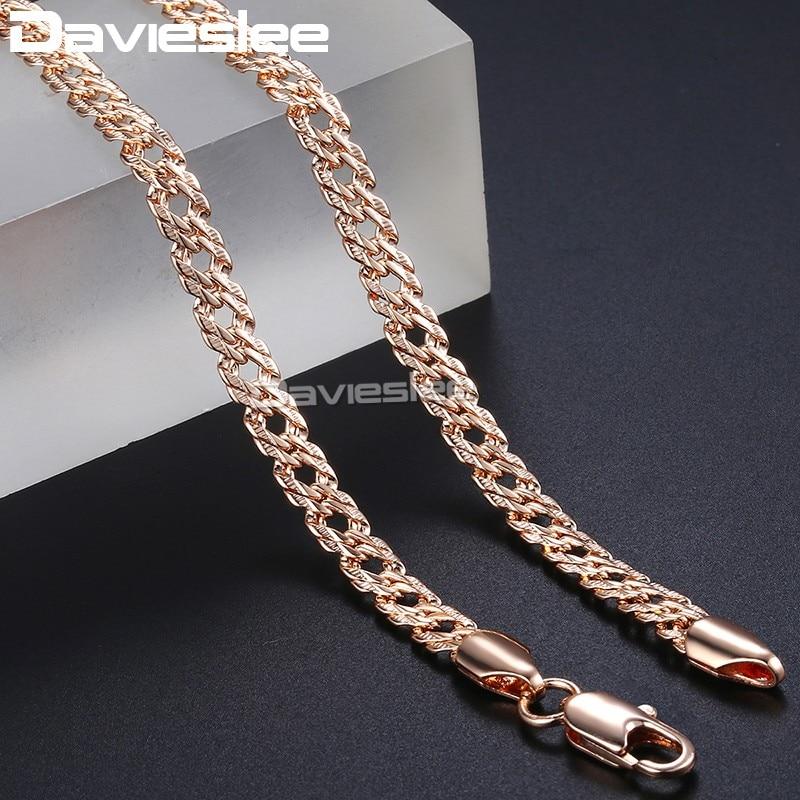 e39d9bf37647 Rosa collar de oro para las mujeres enlace cubano cadena 585 lleno de oro  rosa para mujer collares de joyería de cadena de 5mm 50 cm 55 cm 60 cm  DLGN453