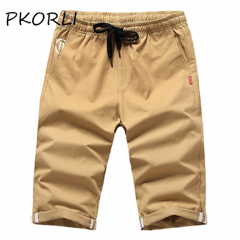 Pkorli Cotton Plus Size Fitness Shorts Men Summer Casual Mid Straight Thin Man Shorts Khaki Workout Short Homme Brand Clothing