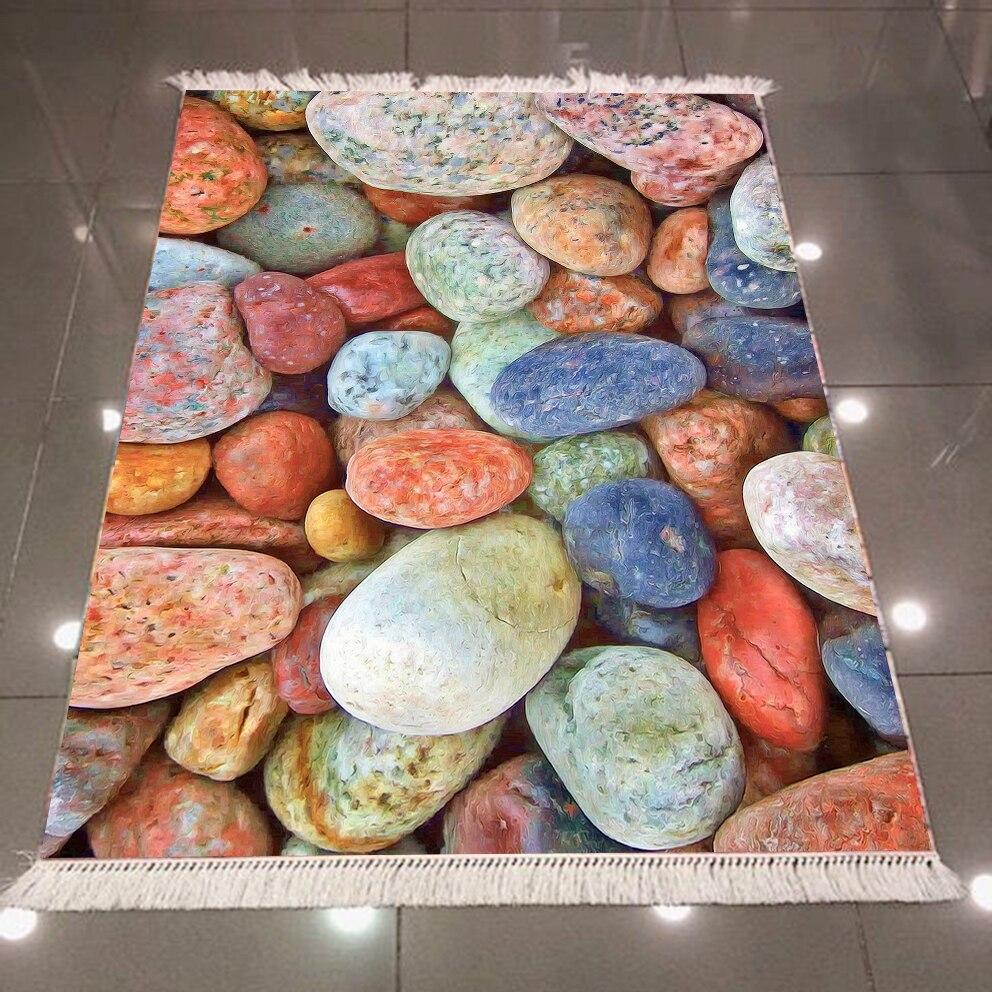 Autre bleu Orange jaune couleur pierres de galets impression 3d anti-dérapant dos lavable décoratif Kilim tapis tapis