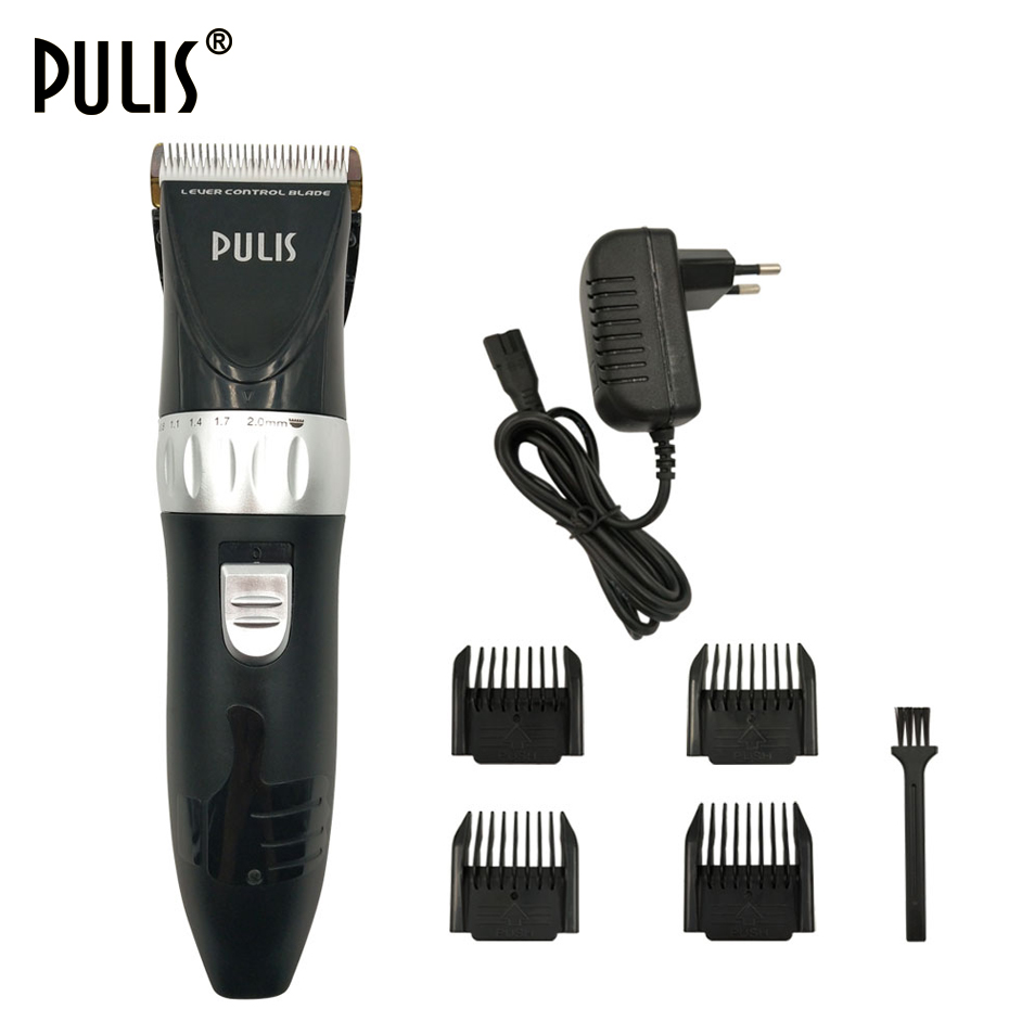 PULIS Hair Clipper Electric Hair Trimmer Rechargeable Haircut Machine Titanium&Ceramic Blade with 4 Limit Combs for Home barber