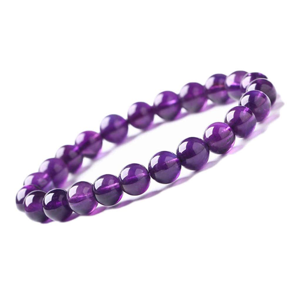 Dobrej jakości 8mm okrągły kształt naturalny fioletowy kamień bransoletka kobiety zroszony bransoletka Stretch