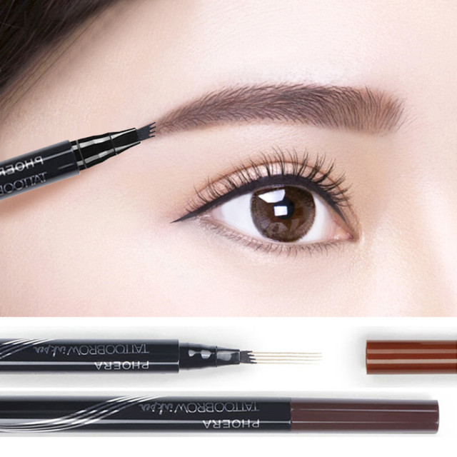PHOERA 3 Colors High-end Automatic Matte Eyebrow Pencil Waterproof Eyebrow Tattoo Pen Long-lasting Cosmetic Dropshipping TSLM2