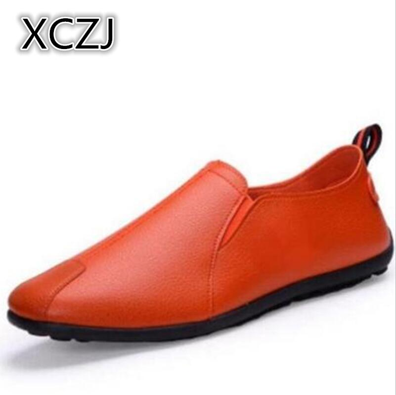 XCZJ 2018 New Men Shoes Lace up Fashion Spring Summer men shoes Flats Solid Men Sneakers Casual blazer leather shoes men A80
