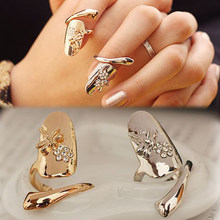 Charming Jewelry Dragonfly Pattern Rhinestones Inlaid Flower Shaped Finger Tip Nail Ring RING-0228(China)