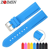ZLIMSN Multi Color Silicone Rubber Dive Watch Bands Quick Release Spring Bar 18 22 24 22mm