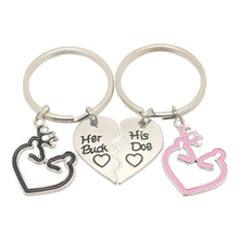 2pcs/set Deer Hunter Her Buck His Doe Keychain Key Chain Heart Keyring Accessories Lovers His and Hers Set Jewelry Gifts