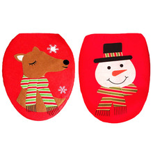 Fancy Happy Santa Toilet Seat Cover Rug Bathroom Set Decoration Christmas Natal Navidad Xmas Elk