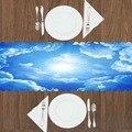 Еще синий белый солнце Сияющие облака природа 3d принт шаблон современный Настольный бегун для кухни столовая скатерть
